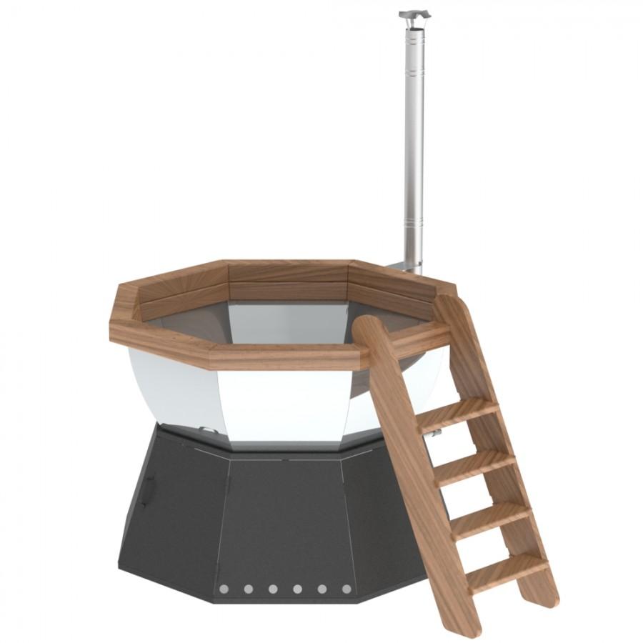 Банный чан для 8-12 человек на подставке с ветрозащитой
