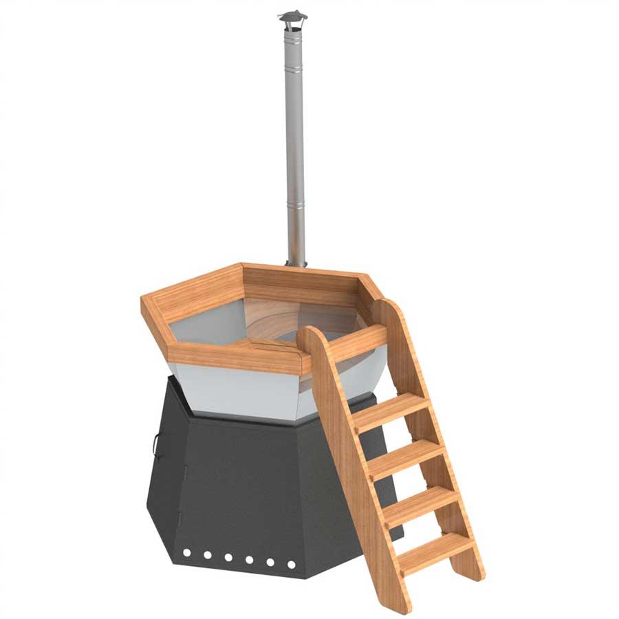 Банный чан для 3-5 человека на подставке с ветрозащитой