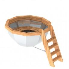 Банный чан для 8-12 человек с обшивкой и лестницей