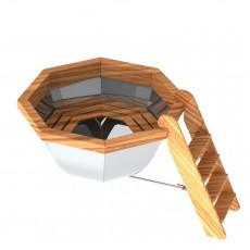 Банный чан для 3-5 человек с обшивкой и лестницей