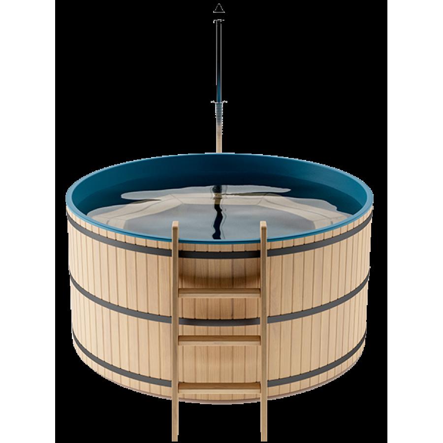 Японская баня Офуро и Фурако на 5-6 человека круглая со встроенной печью и пластиковой вставкой